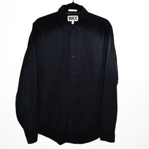 1MX Express Black Button Down Fitted Dress Shirt